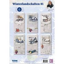 Conjunto de tarjeta completa, paisajes de invierno para 6 entradas!