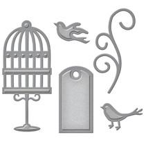 Stanzschablonen: Label, Käfig, Vögel und swirl