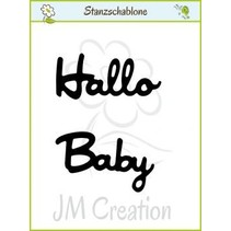 """Punching and embossing templates: German text: """"Hello"""" and """"Baby"""""""