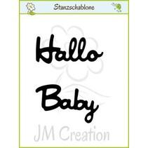 """Punzonado y estampado en relieve plantillas: texto alemán: """"Hola"""" y """"Baby"""""""
