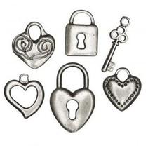 Pendentif 6 métal: coeur, serrure, clé