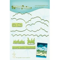 Punching and embossing templates, background for landscape