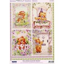 A4 Die cut 3D + 1 baggrund ark: Bears