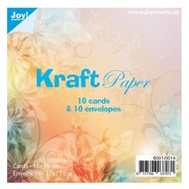 10 Kraft Papier, Karten + Umschlägen