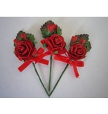 BASTELSETS / CRAFT KITS: A augmenté de 3 mini-bouquets rouge avec ruban. - Copy