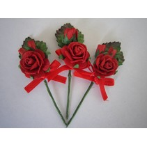 3 MIni red rose bouquets with ribbon. - Copy