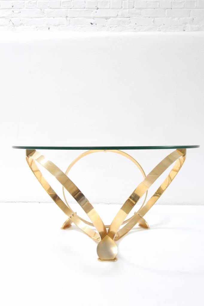 Elegante vintage messing salontafel van Knut Hesterberg voor Roland Schmitt