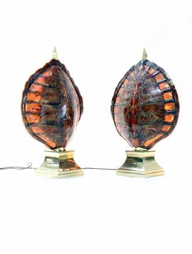 Pair of turtle lamps