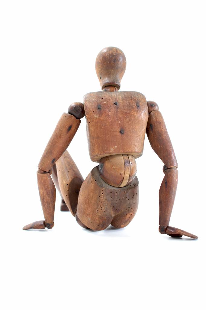 Wooden antique drawing doll 1880