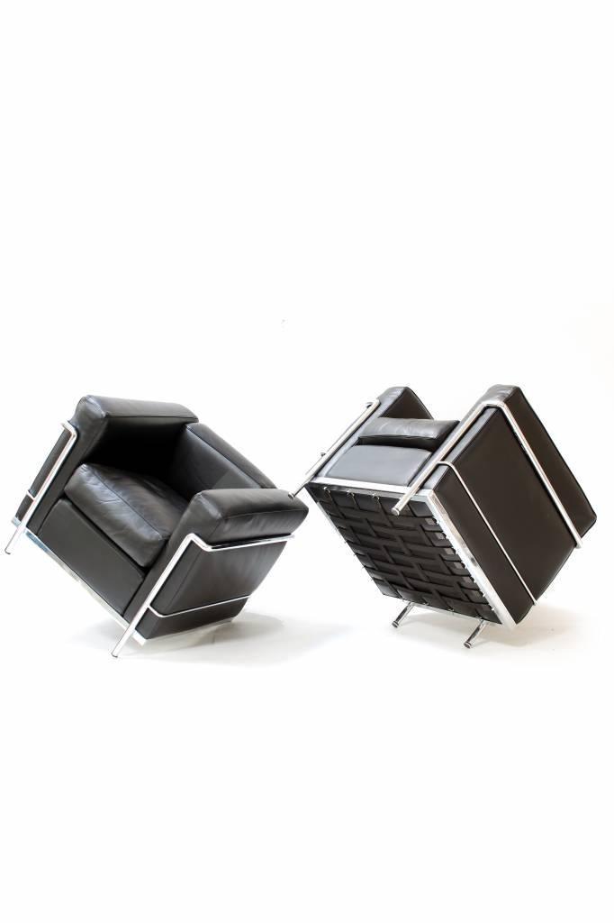 Couple black Le Corbusier LC2 1seat