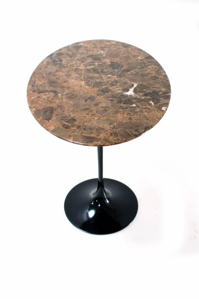 Sidetable Met Marmer.Zwarte Knoll Sidetable Met Bruine Marmer Ontwerp Eero Saarinenen