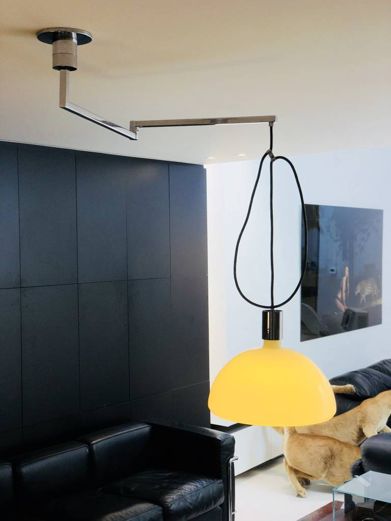 Rotating ceiling lamp designed by Franco Albini for Sirrah in 1969.