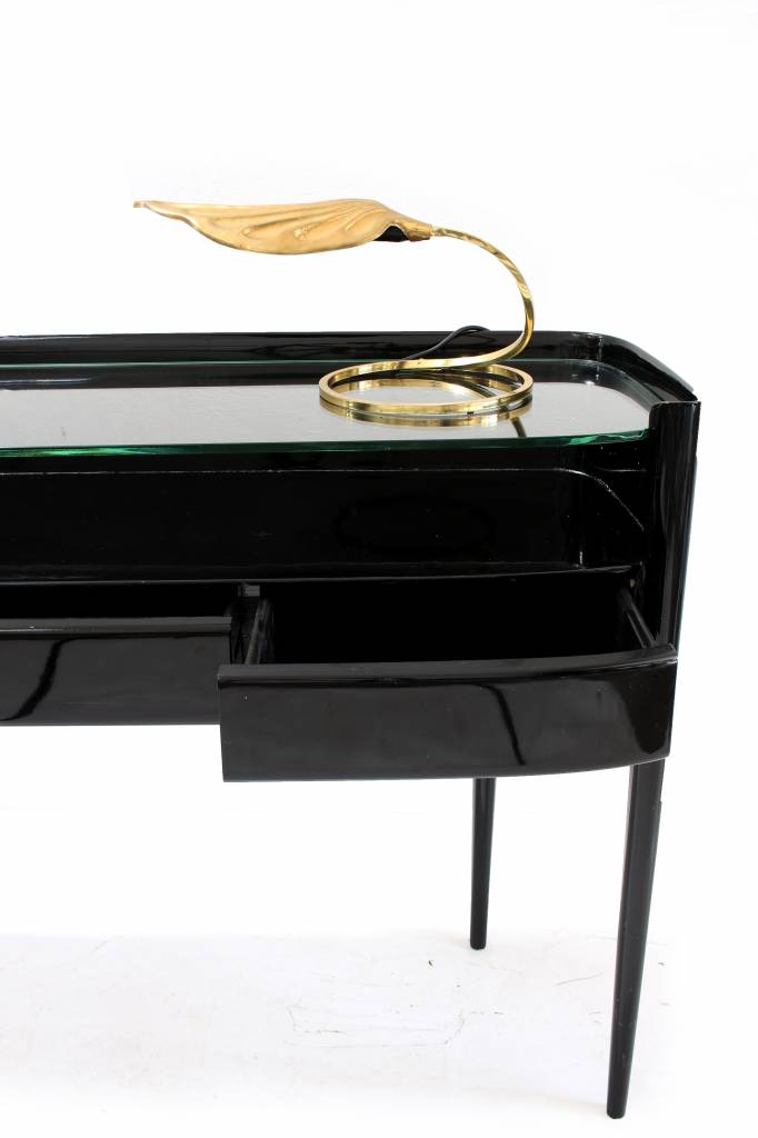 Art-Deco sidetable in zwarte piano lak