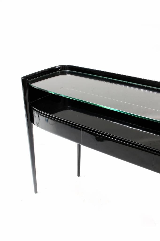 Art-Deco sidetable in zwarte piano lak