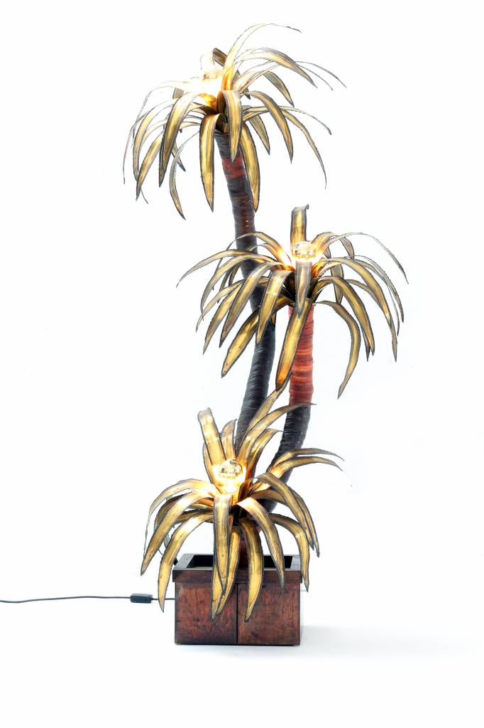 Vintage Maison Jansen palm tree lamp in brass