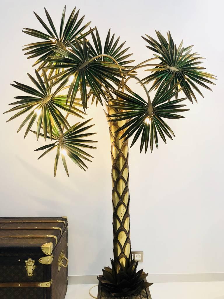 Fantastische palmboom lamp in messing Maison Jansen 1970
