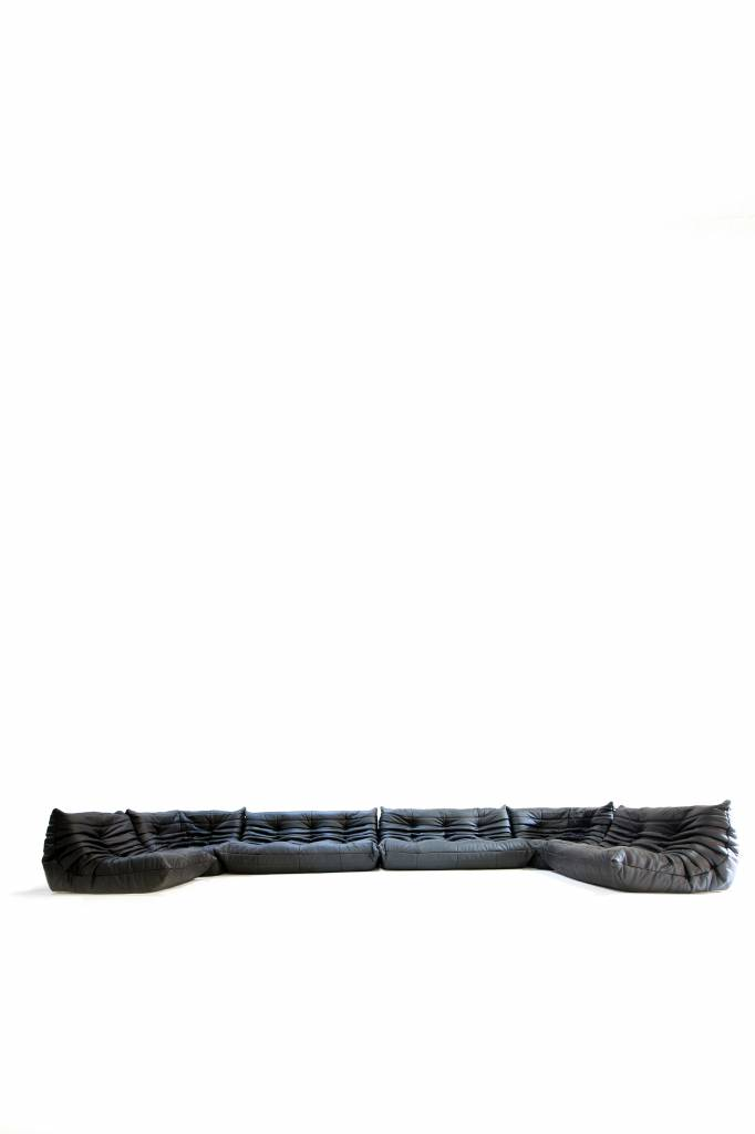 Black leather ligne roset togo salon