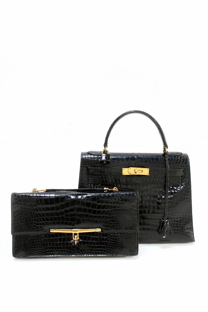 99c0a21fb4119 Hermès Kelly bag black croco leather - WAUWSHOP Belgium