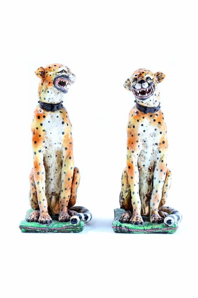 Antique couple leopard sculptures in 19TH CENTURY ceramics