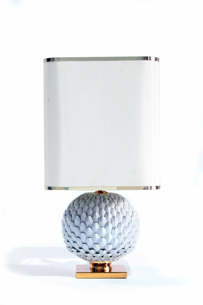 Beautiful French ceramic table lamp with brass