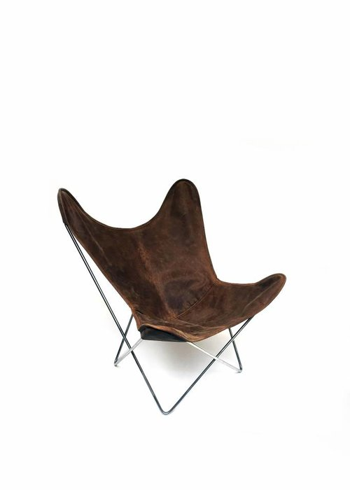 Butterfly chair with leather cover