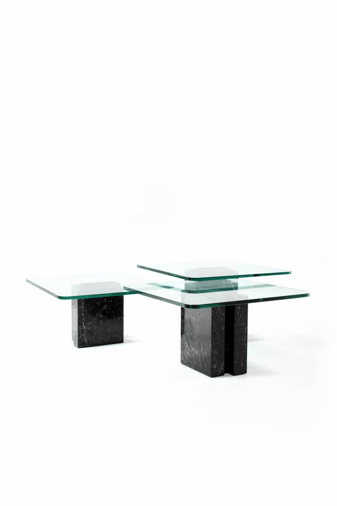 Design tables with marble and glass