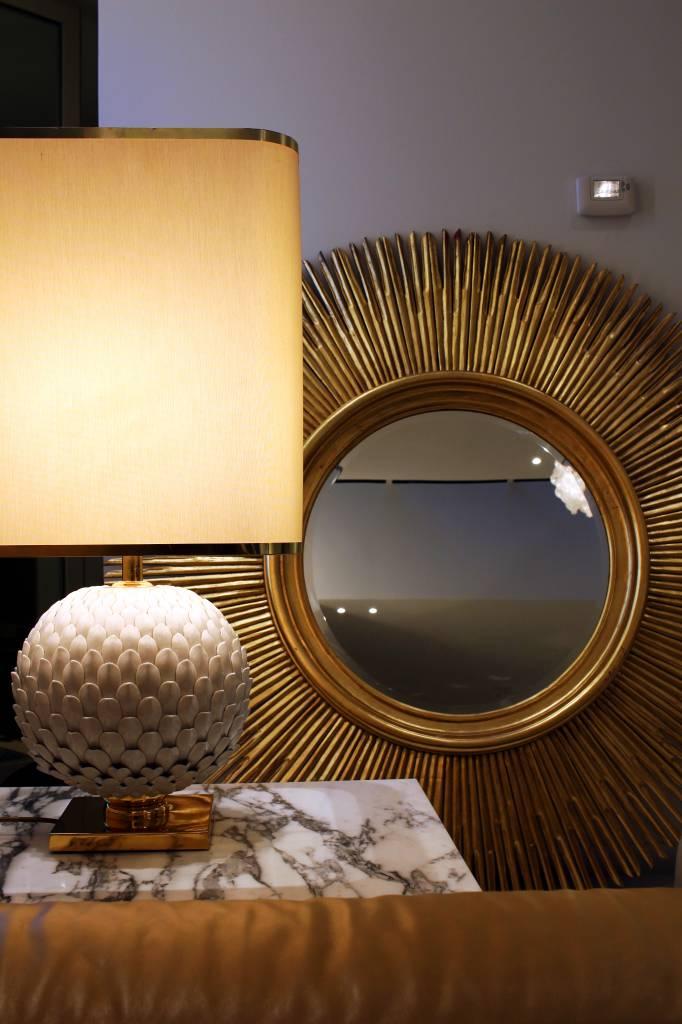 Prachtig Franse keramische tafellamp met messing