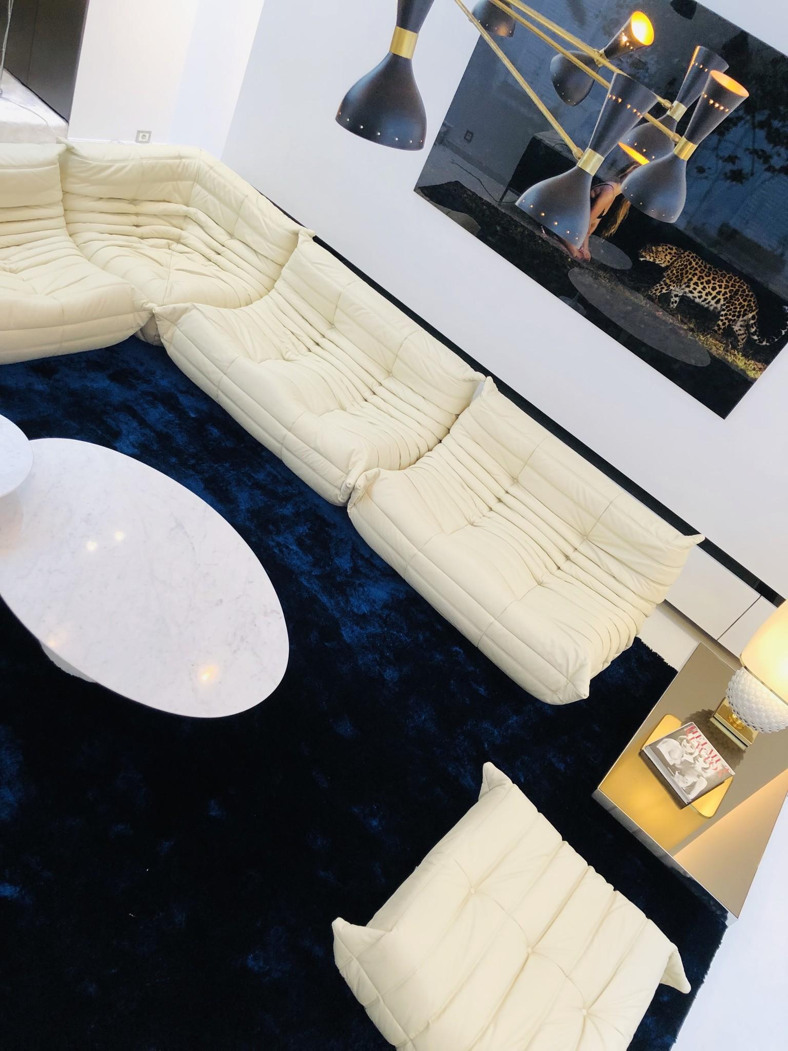 """Leather """"Togo"""" salon set by Michel Ducaroy for Ligne Roset"""