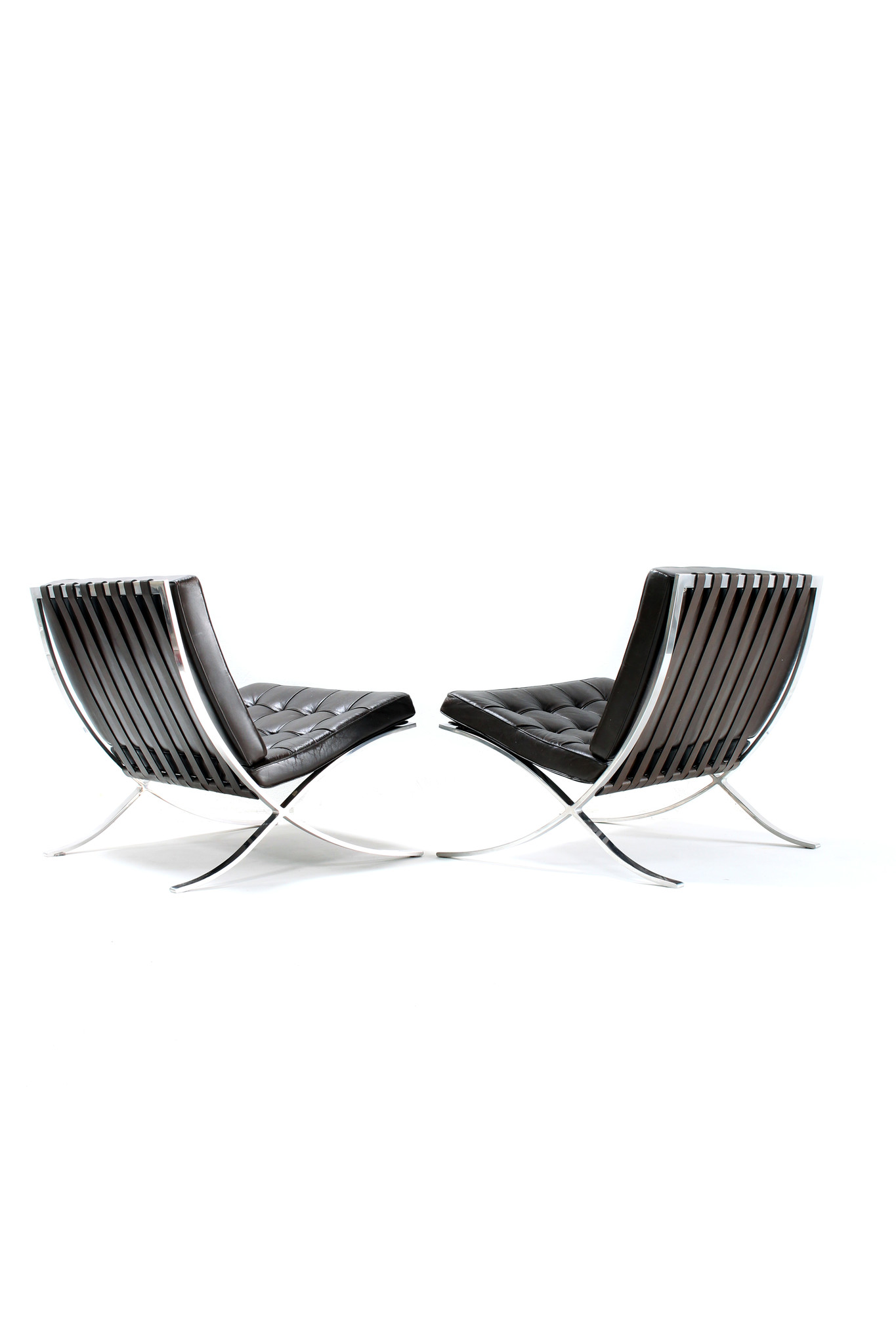 Pair of vintage Barcelona chairs by Ludwig Mies van der Rohe