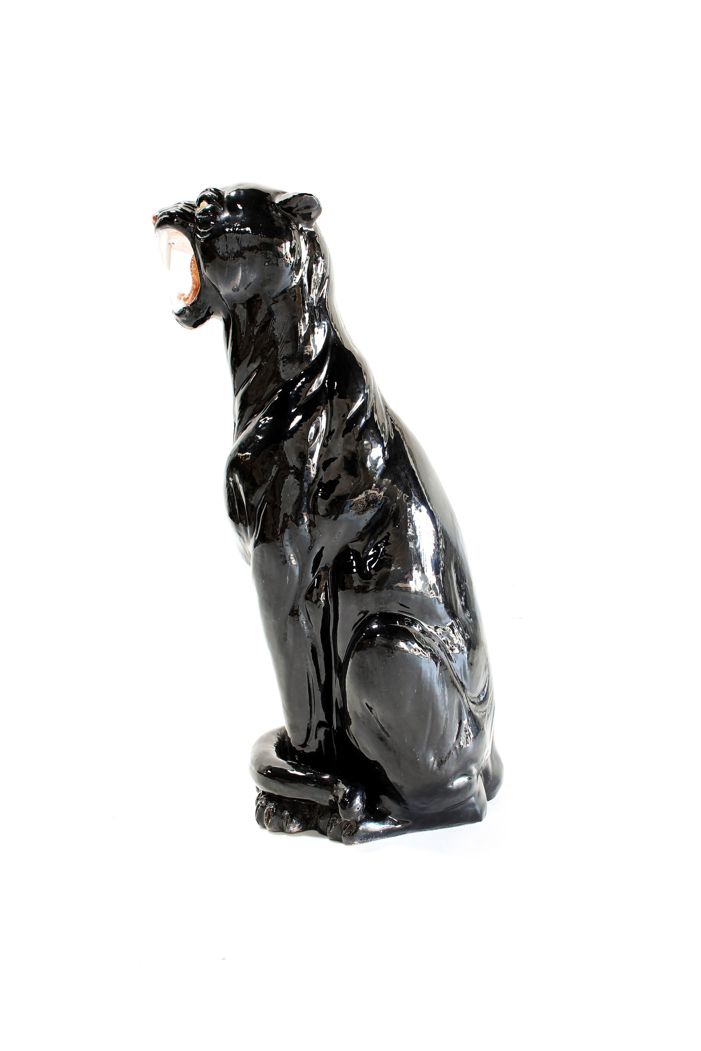 Black ceramic panther, 1970's