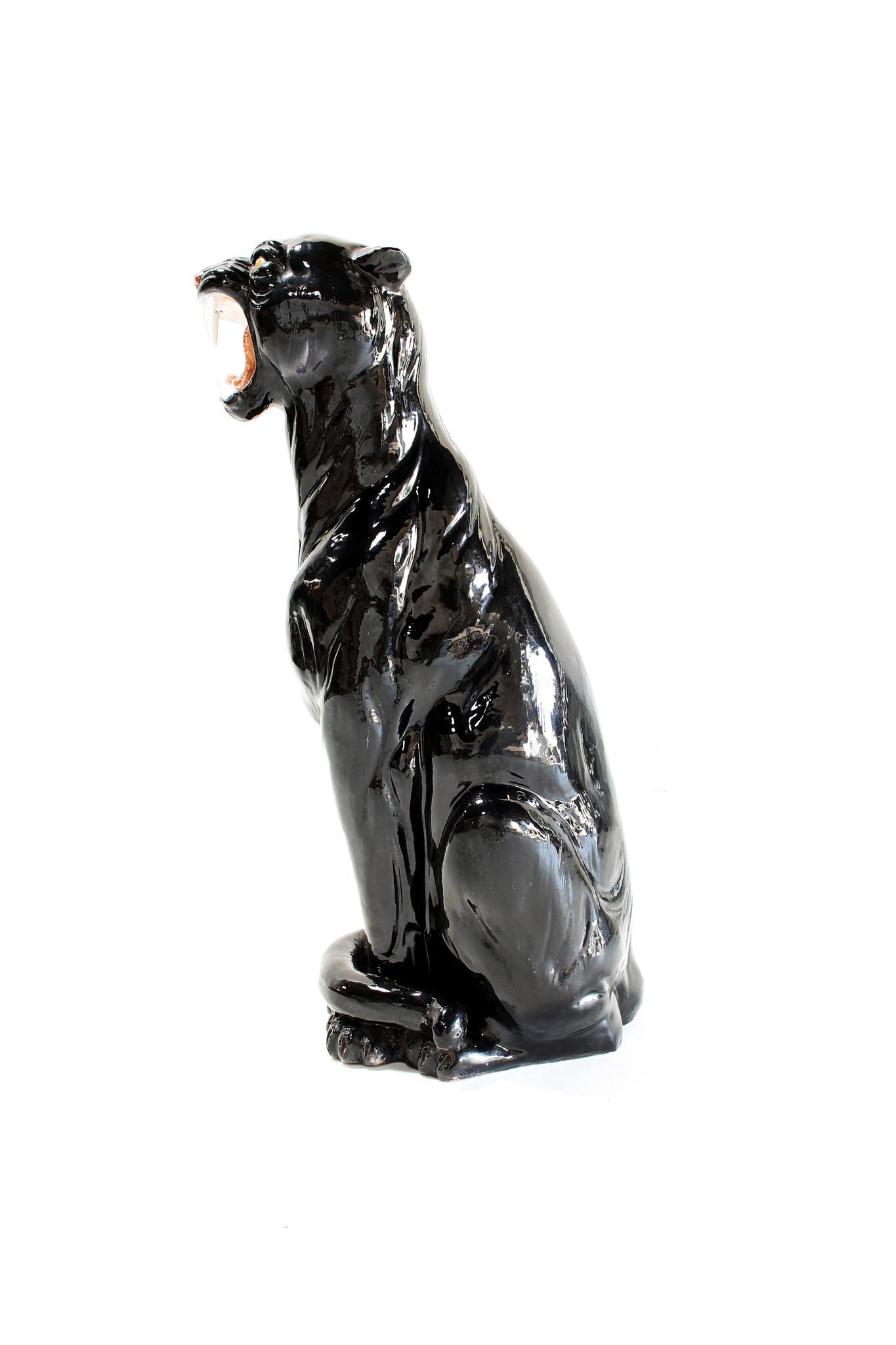 Black ceramic panther, 1970's