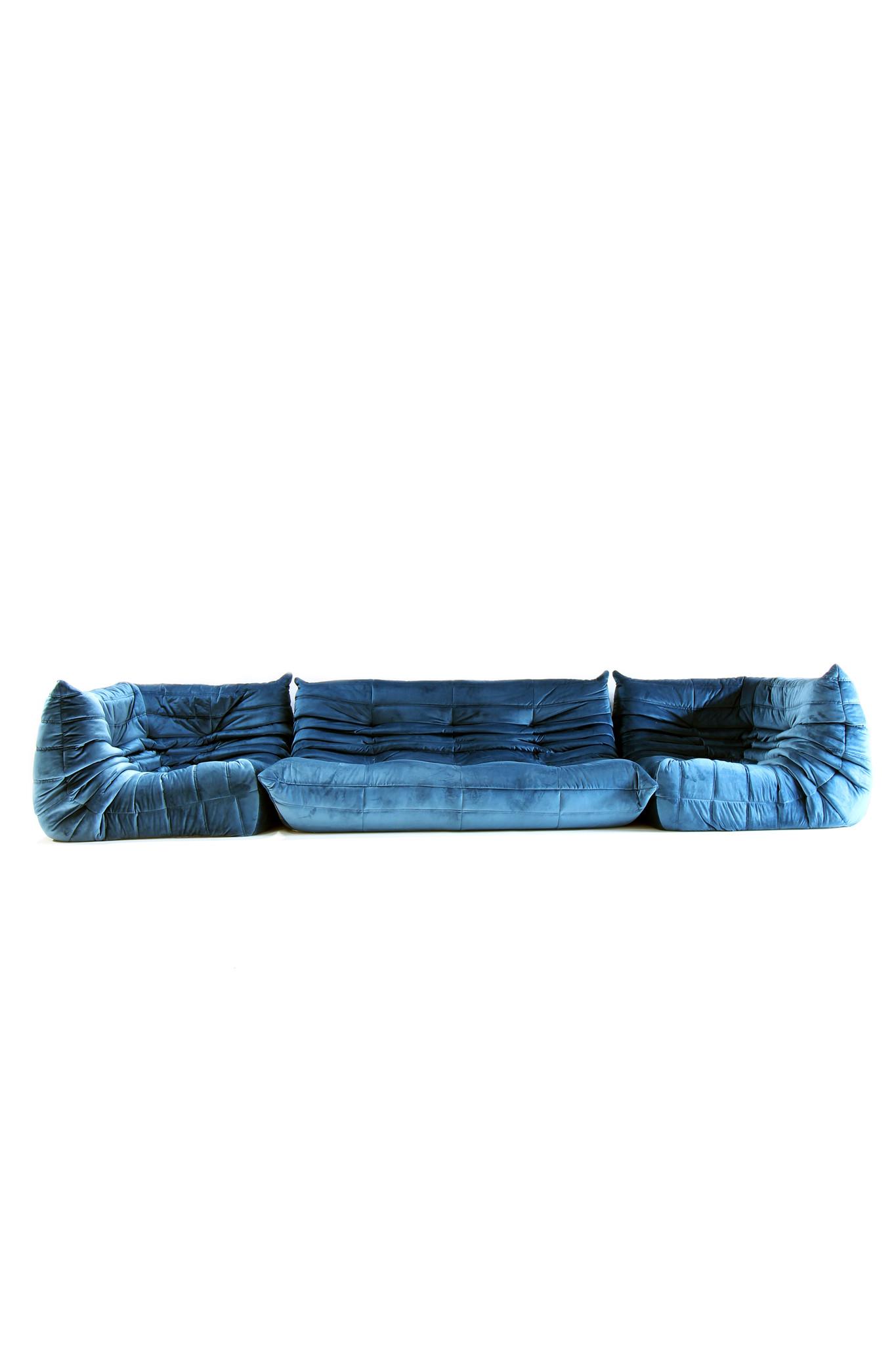 Ligne roset salon petroleum blauw velour