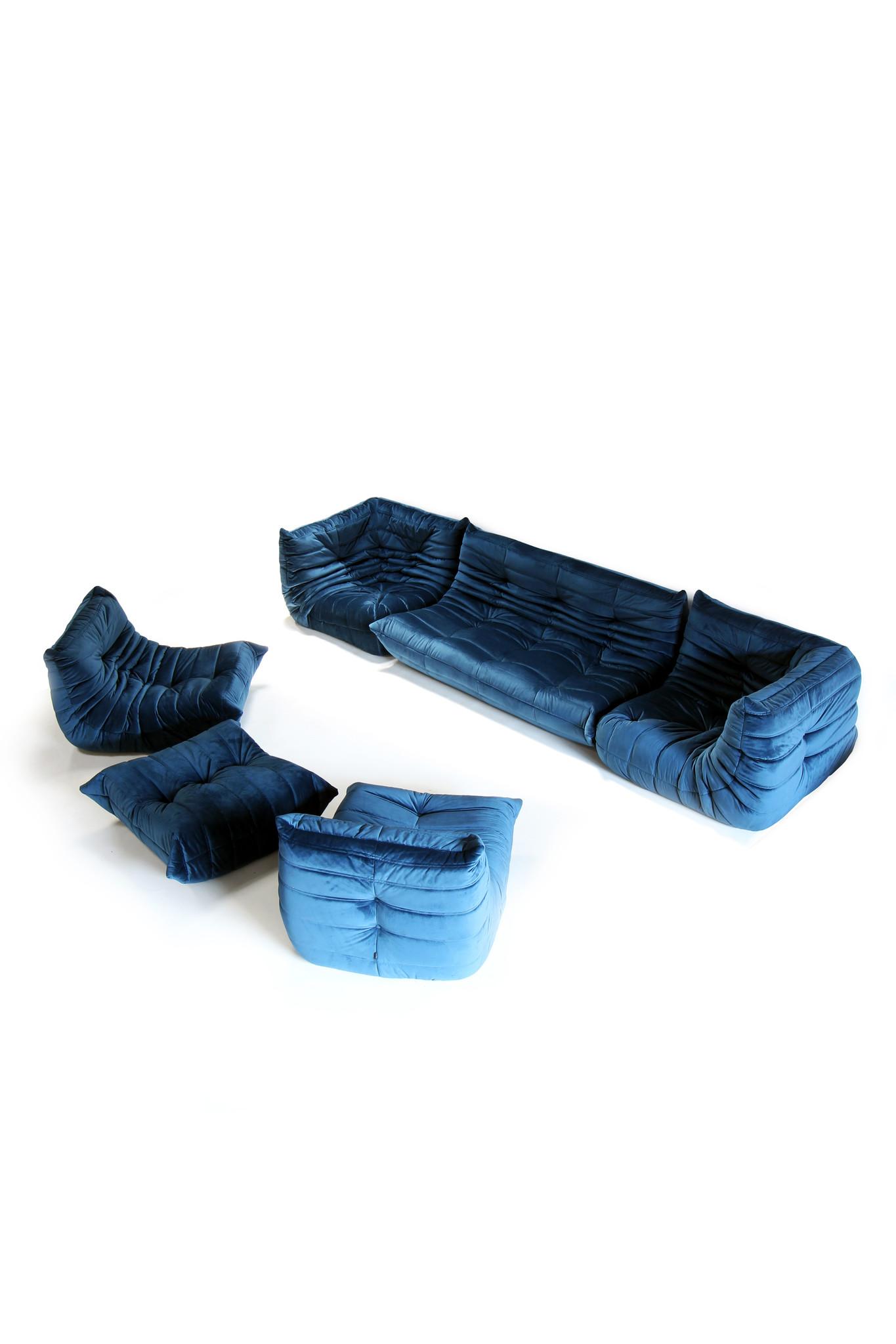 Ligne roset salon petroleum blue velvet