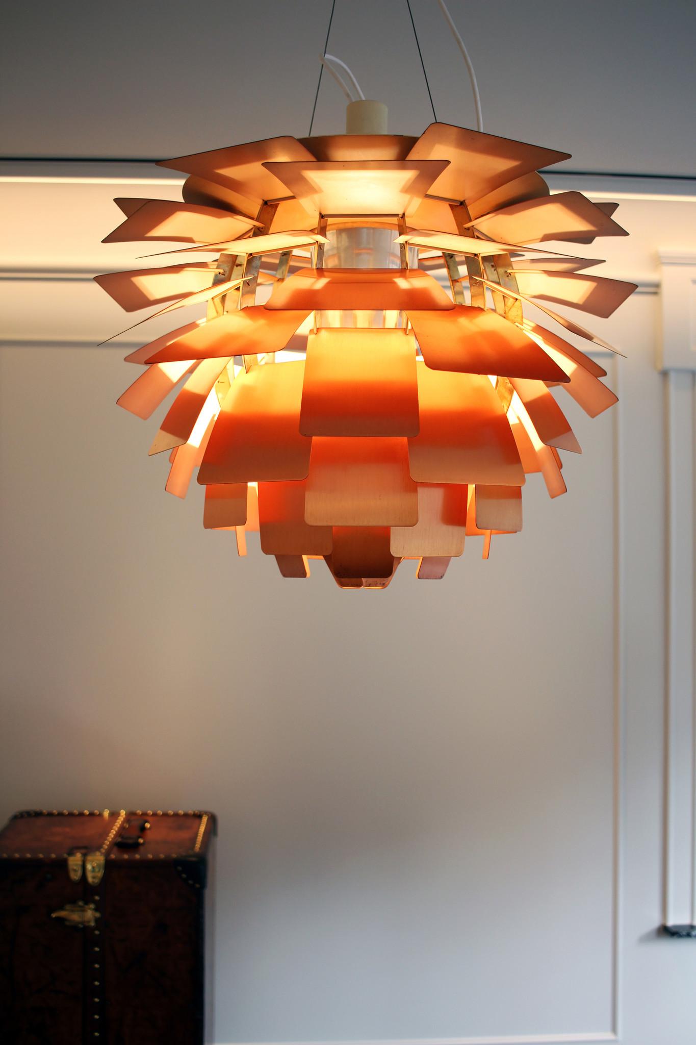 Vintage Artishoke lamp, koper uitvoering