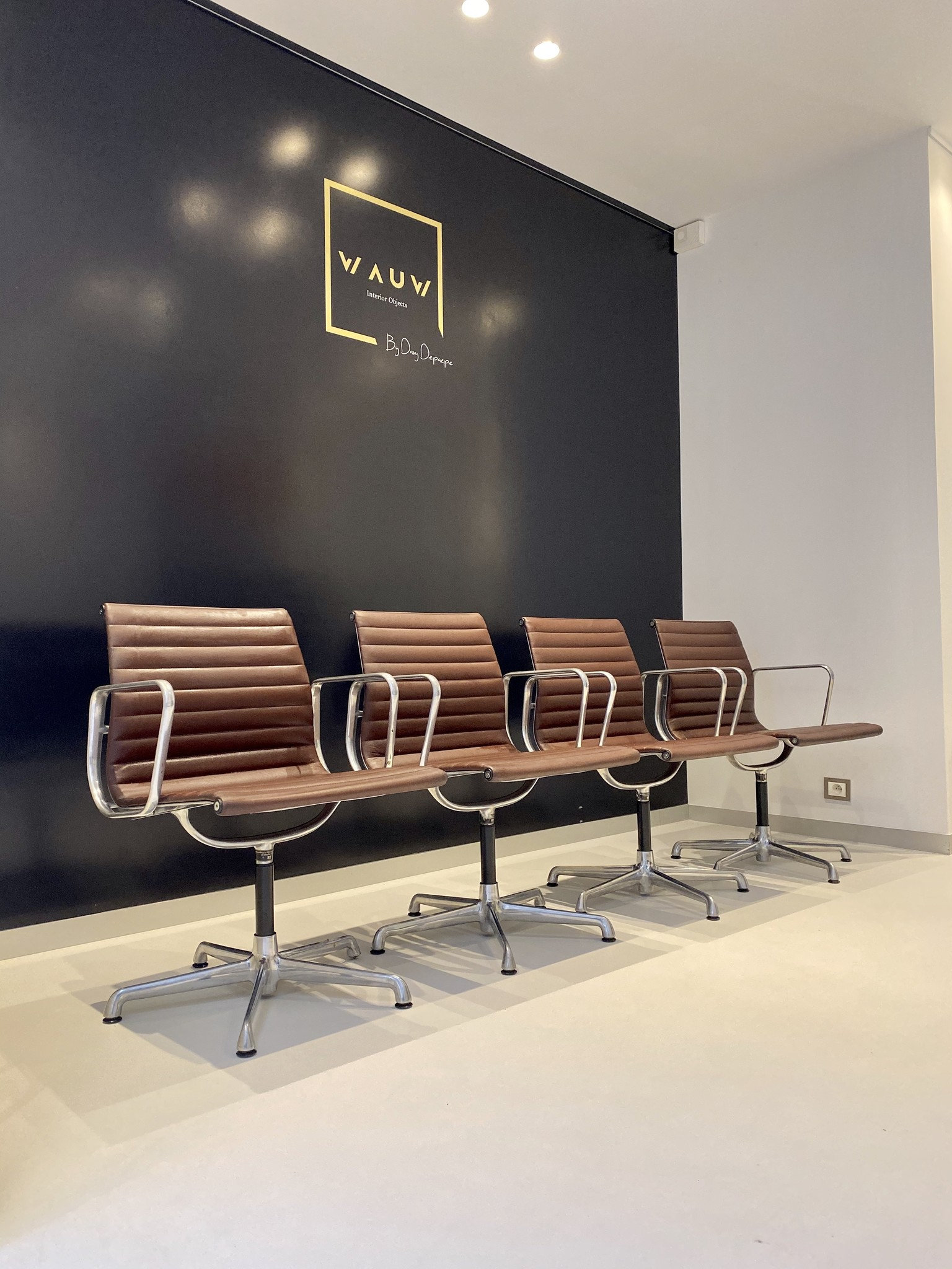 Vintage Charles Eames chairs EA108 in leather