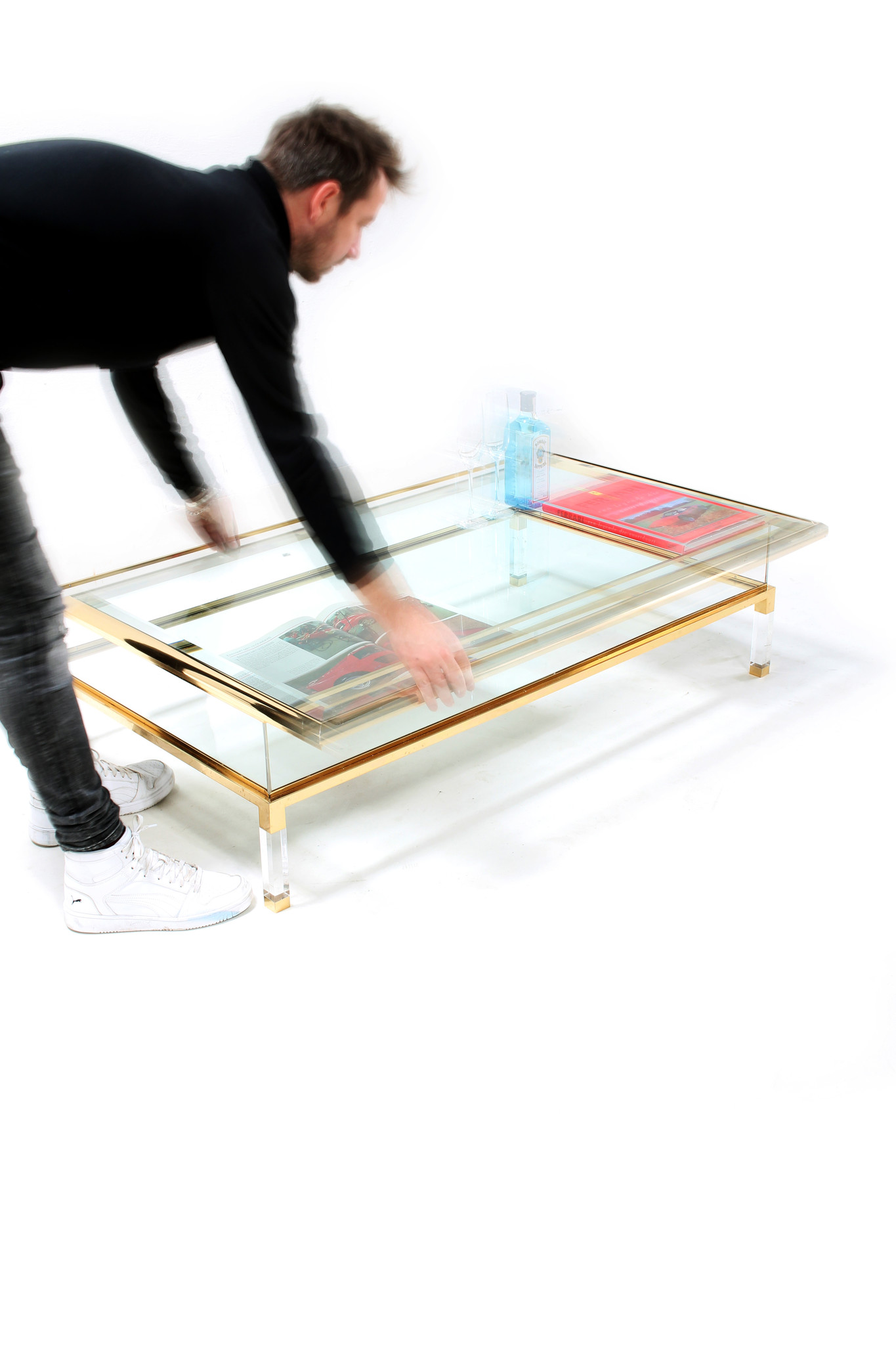 Vintage sliding coffee table
