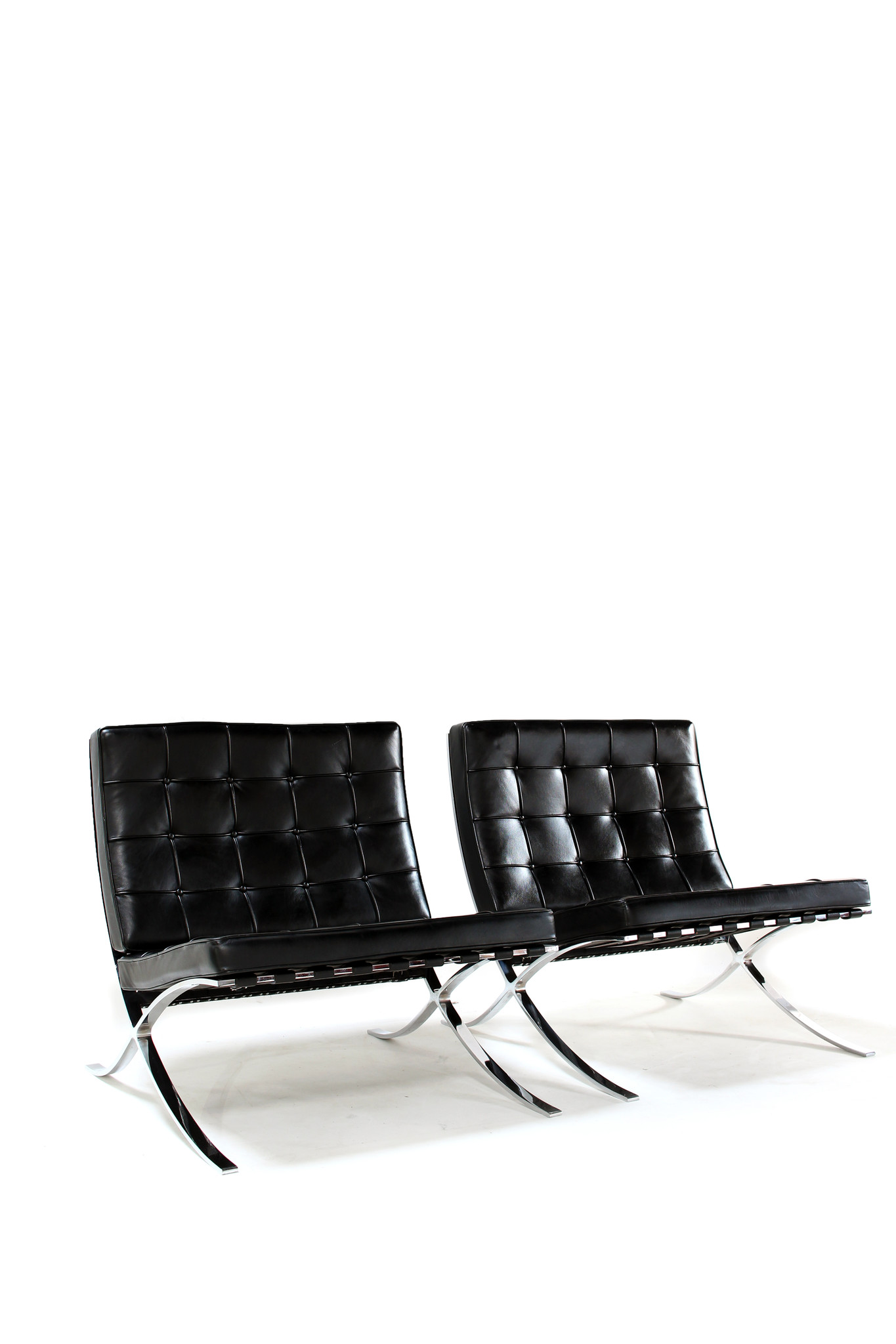 Set of 2 Barcelona Chairs for Knoll designed by Mies Van der Rohe