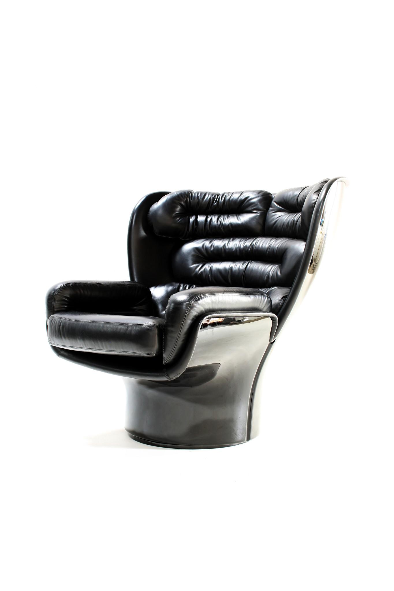 Rare Full Black Edition Elda Chair designed by Joe Colombo for Comfort, 1963