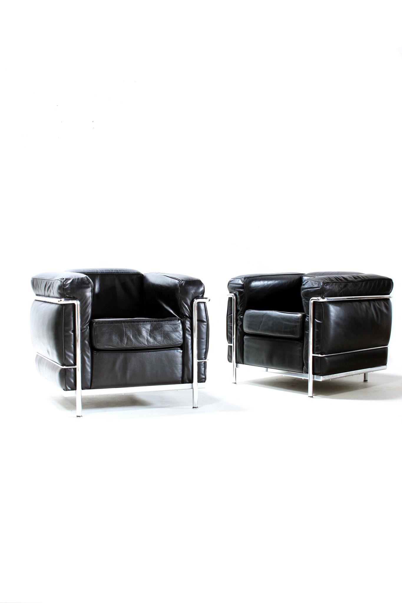 Vintage Koppel zwarte Le Corbusier LC2 1-zits voor Cassina