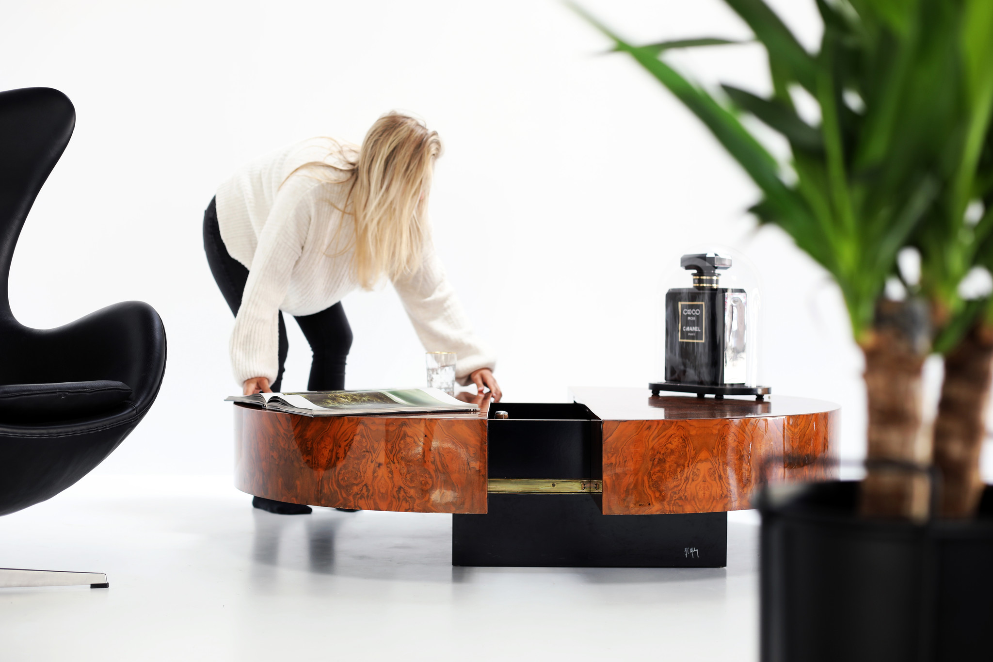 Coffee table / bar designed by Jean Claude Mahey