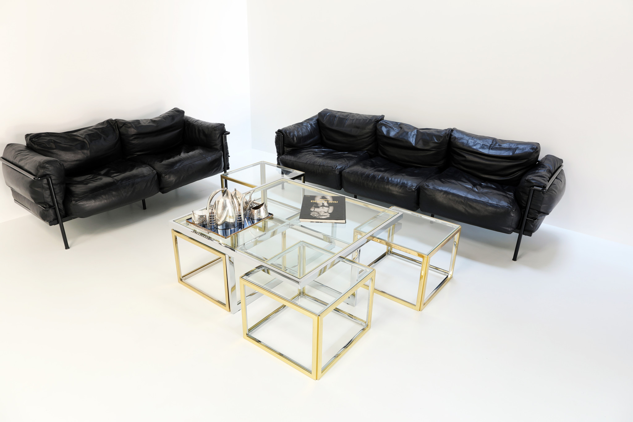 VINTAGE MAISON CHARLES COFFEE TABLE WITH FOUR SIDE TABLES, 1970