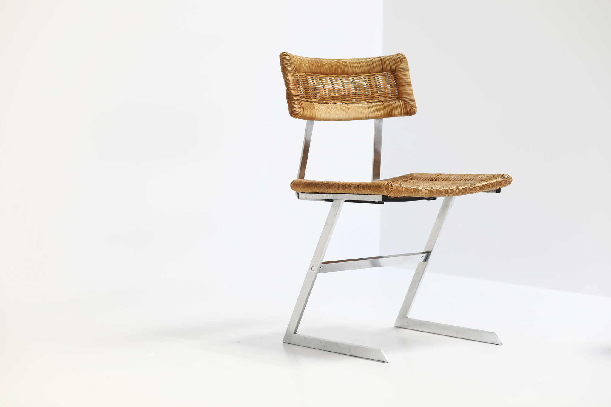 Vintage chairs with Z frame and wicker seats