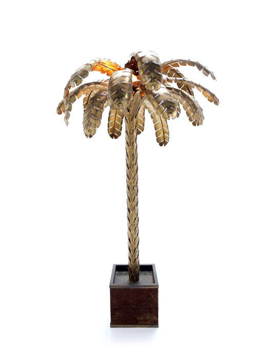 Large Maison Jansen palm tree lamp