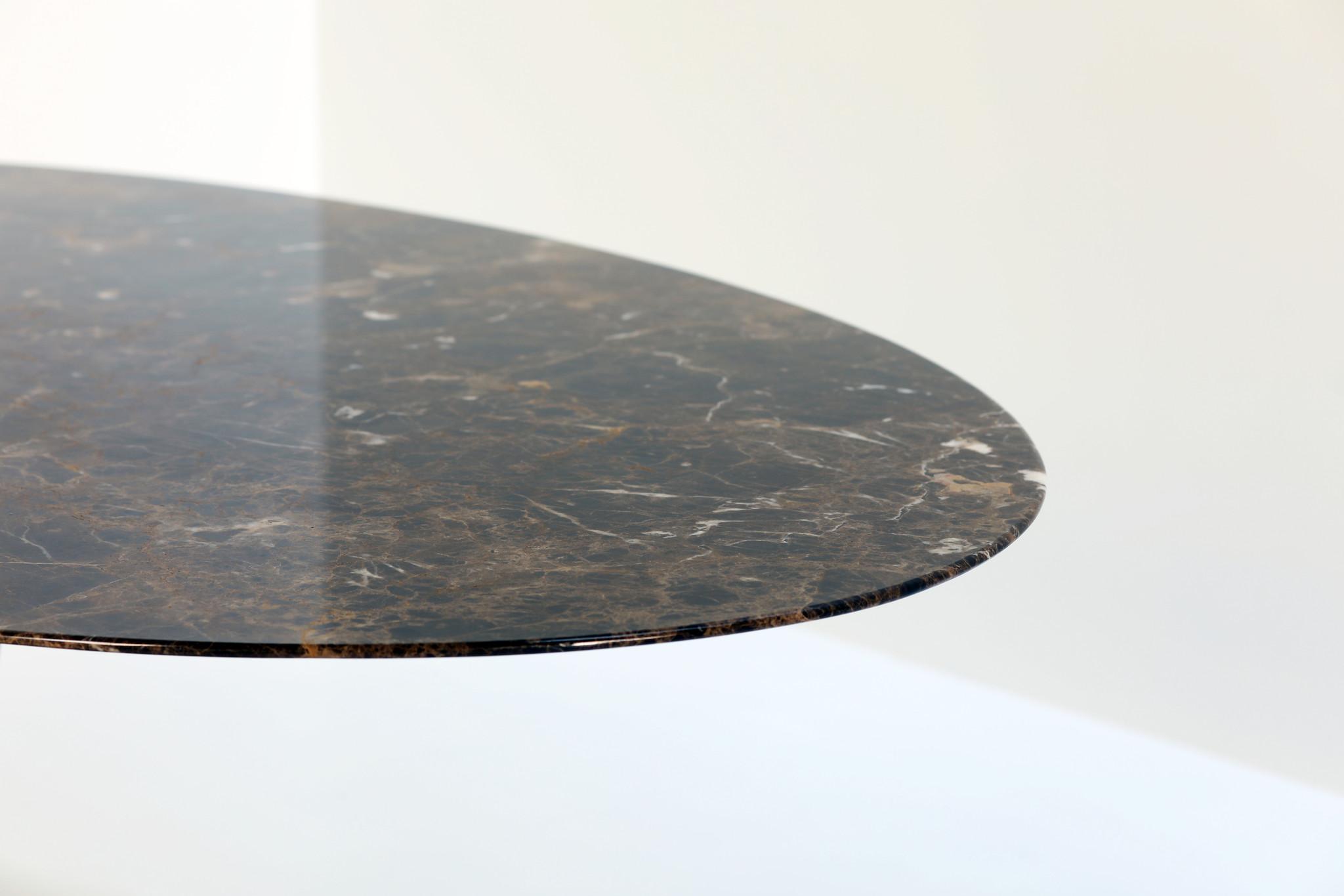 Eero Saarinen oval Knoll table with Emperador marble