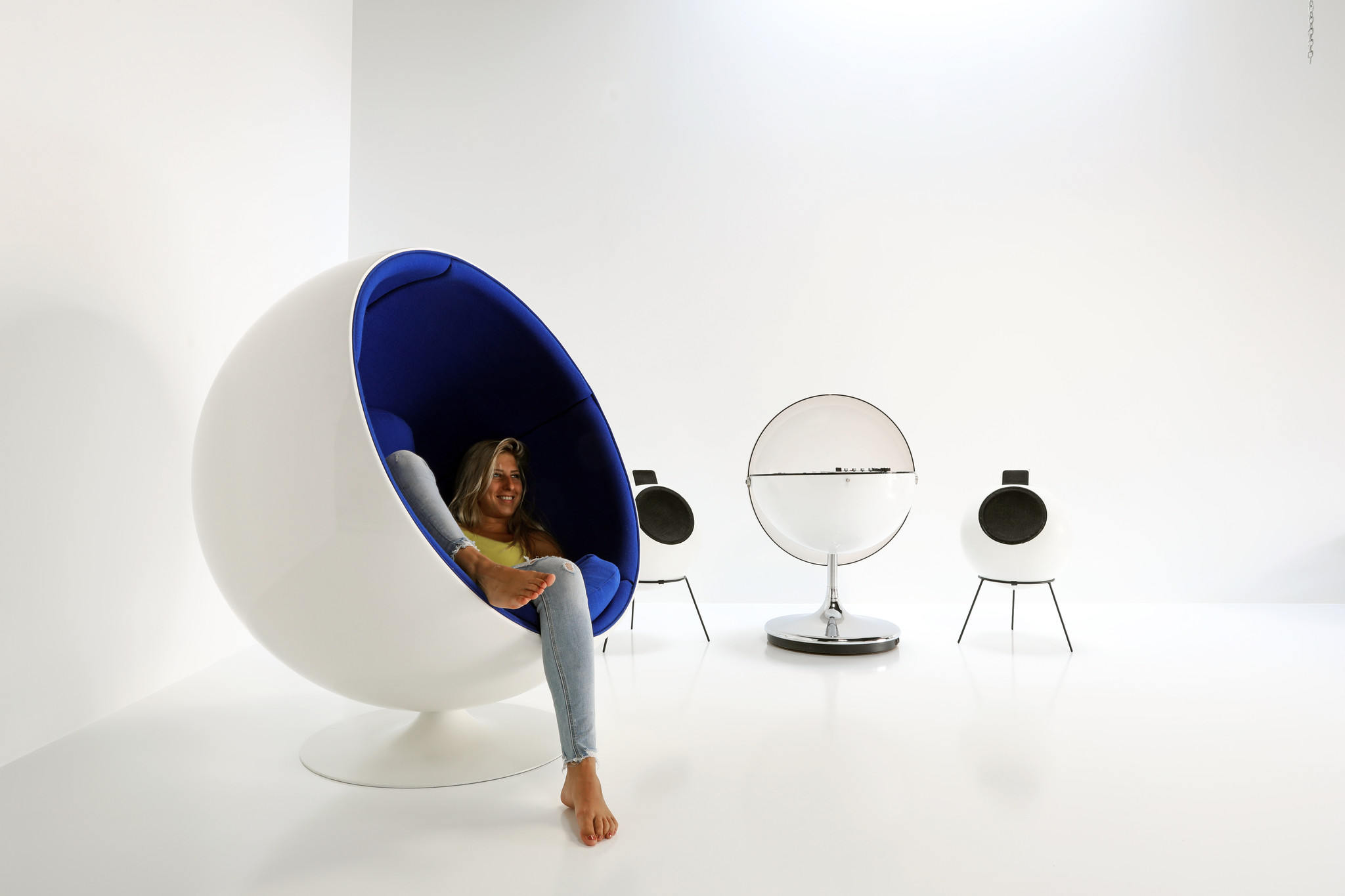 The Ball Chair was designed by Eero Aarnio for Adelta.