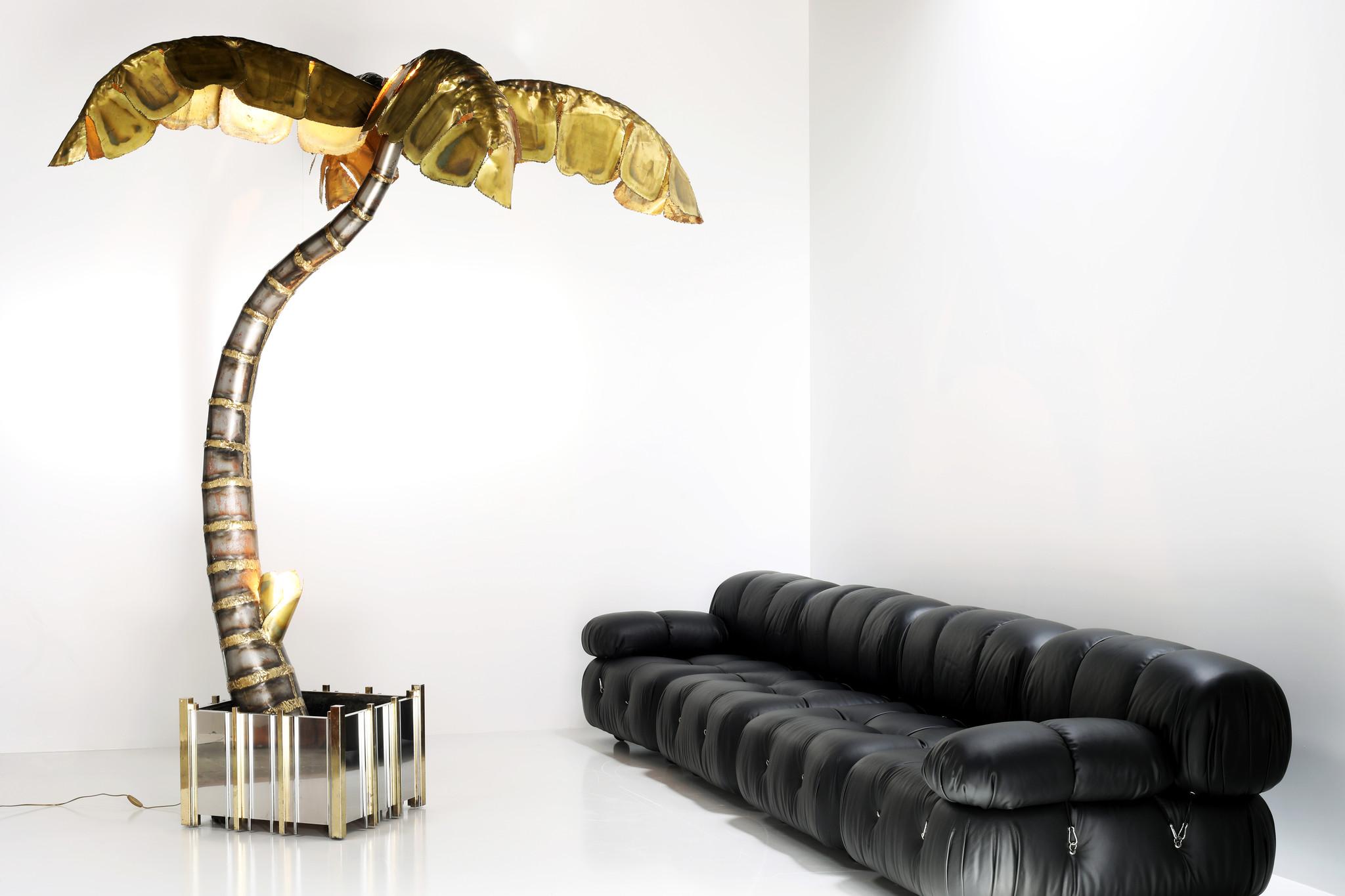 XXL Maison Jansen palm tree lamp