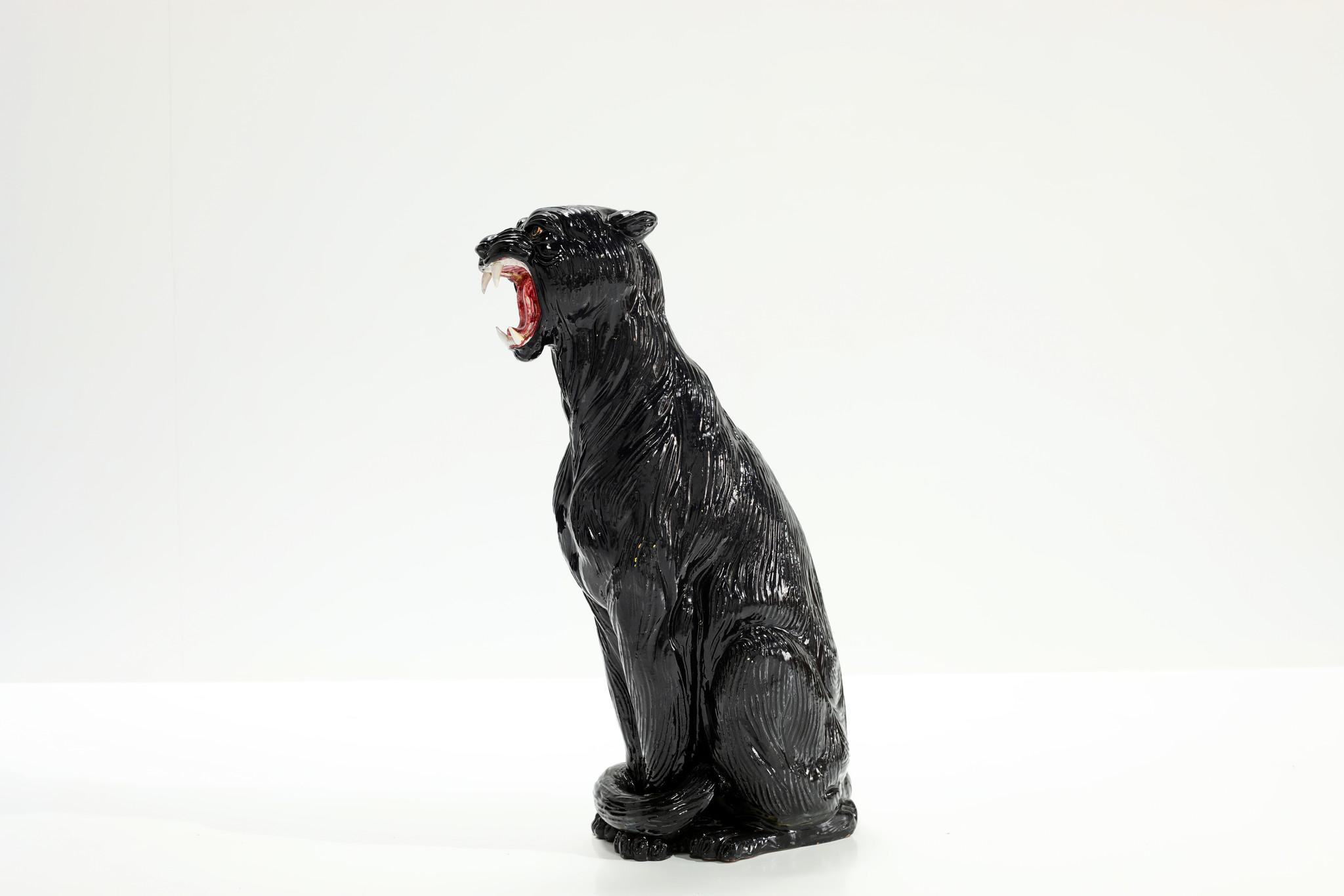 XXL black ceramic panther, 1970s