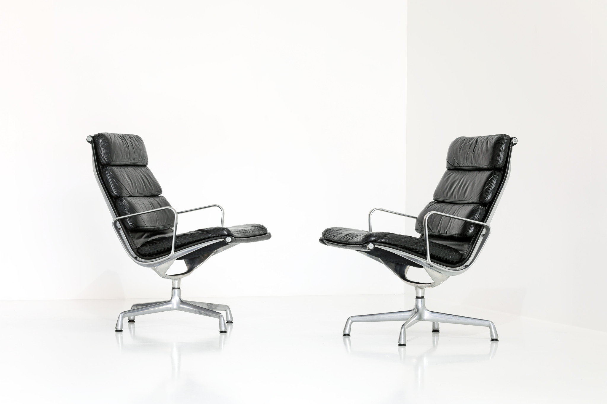 Lounge soft pad chairs designed by Charles Eames for Herman Miller