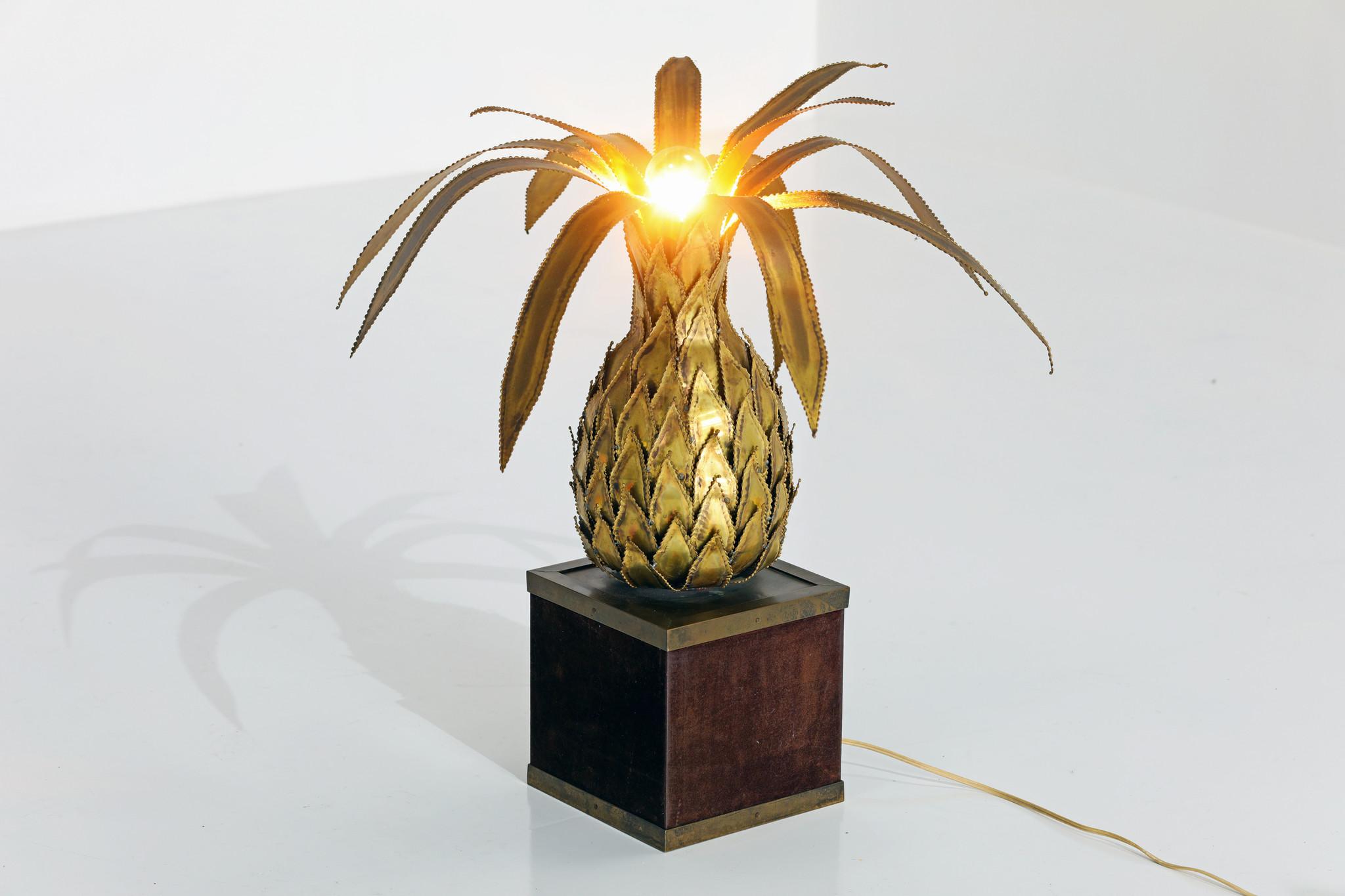 Authentic Maison brass Jansen Pineapple lamp, 1970s