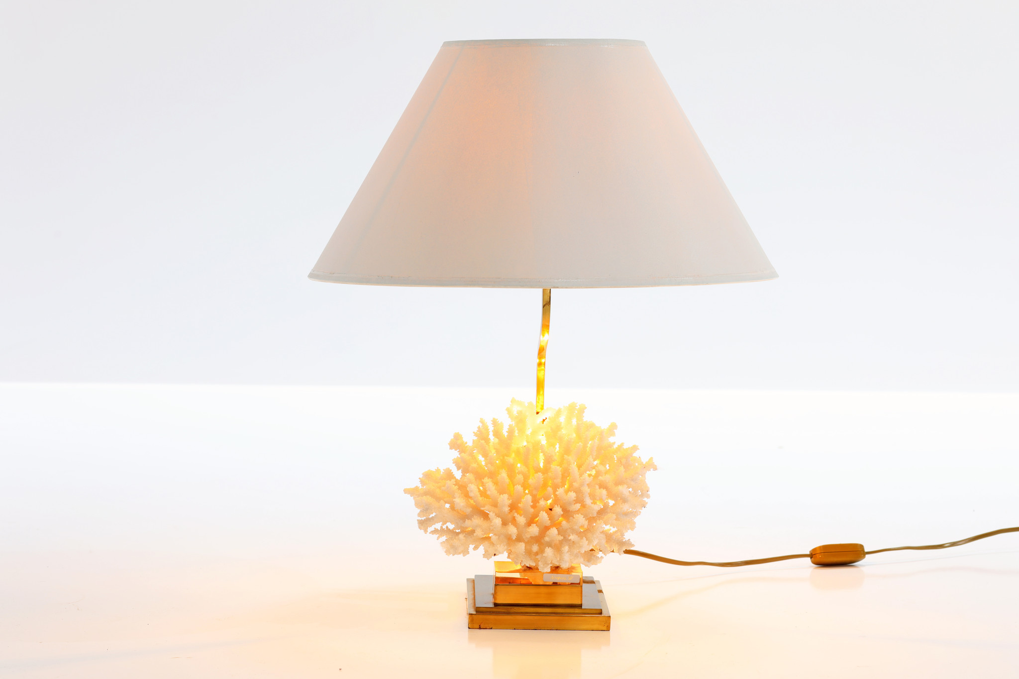 coral table lamp, 70's